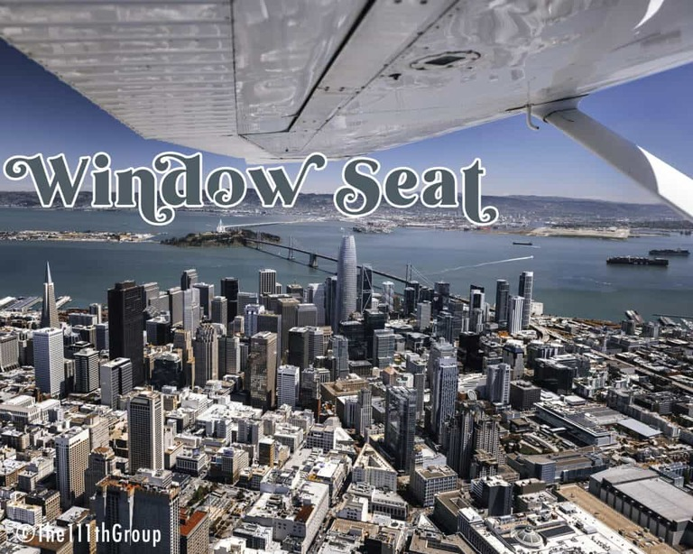 Aerial Image of Downtown San Francisco with the wing of the aircraft visible. Taken from the Window Seat of a Cessna 182.